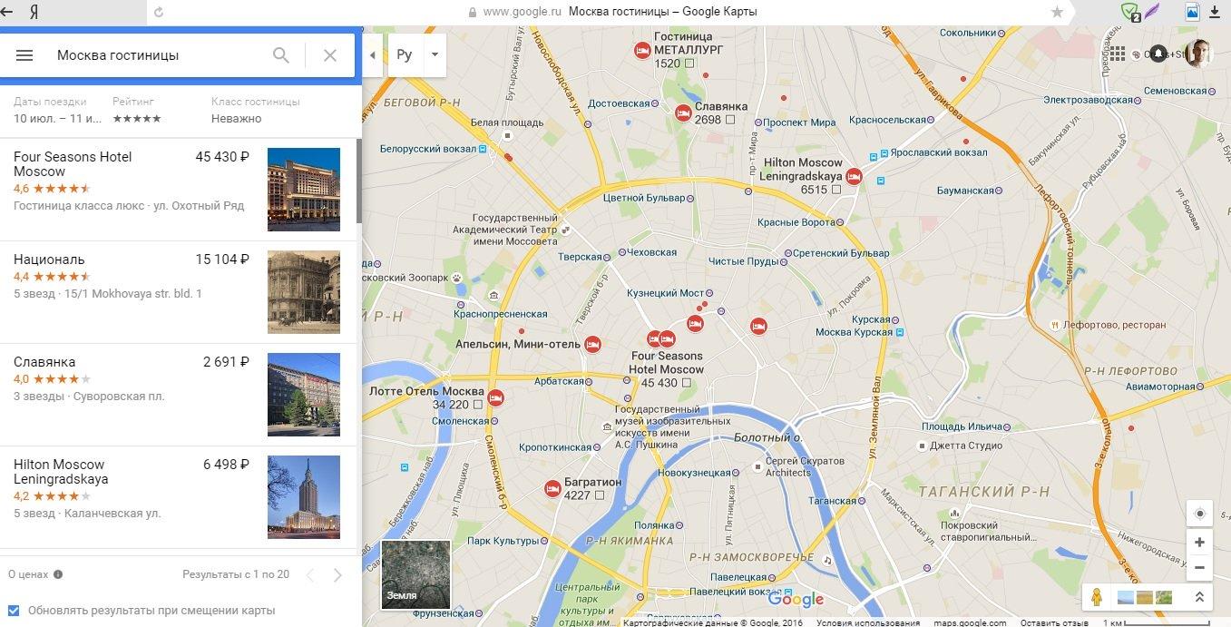 Гостиницы в Google maps