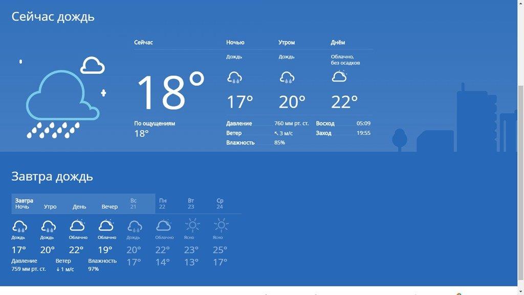 Погода в Спутнике