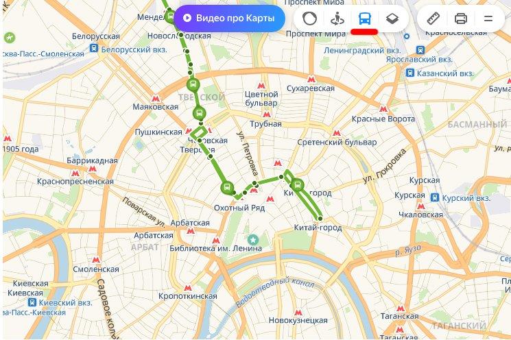 Транспорт на Яндекс картах